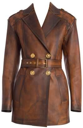 Versace Long Nappa Leather Jacket