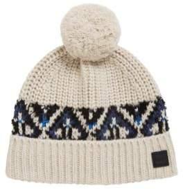 BOSS Hugo Fair Isle beanie hat in a textured yarn One Size Open Beige