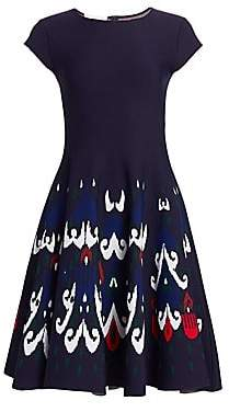 Oscar de la Renta Women's Print Cap-Sleeve Flare Dress