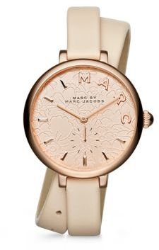 Marc by Marc Jacobs Sally Floral Rose Goldtone Stainless Steel & Leather Double-Wrap Watch $225 thestylecure.com