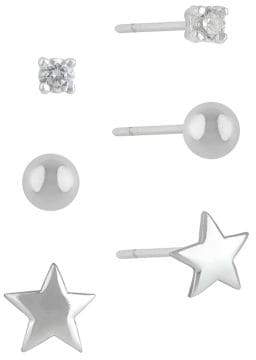 Lord & Taylor Sterling Silver and Cubic Zirconia Stud Earring Set