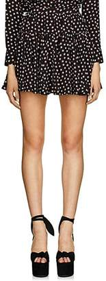 Saint Laurent Women's Star-Print Silk Crêpe De Chine Miniskirt - Black