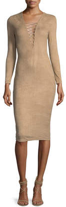 Alexander Wang Stretch Faux-Suede Long-Sleeve Lace-Up Midi Dress