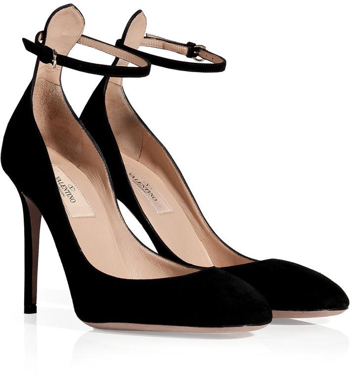 Valentino Black Suede High Heeled Pumps