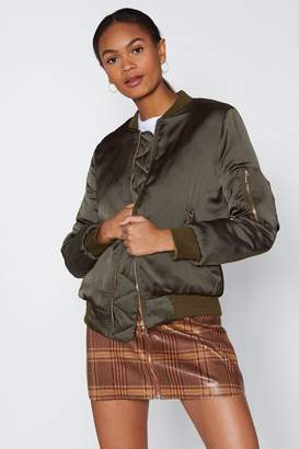 Nasty Gal Satin the Nick of Time Bomber Jacket