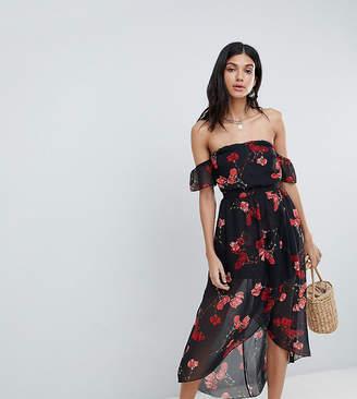 Parisian Tall Floral Off Shoulder Midi Dress