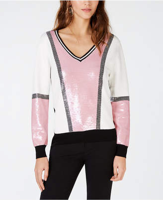 INC International Concepts I.N.C. Petite Sequin Colorblock Sweater, Created for Macy's