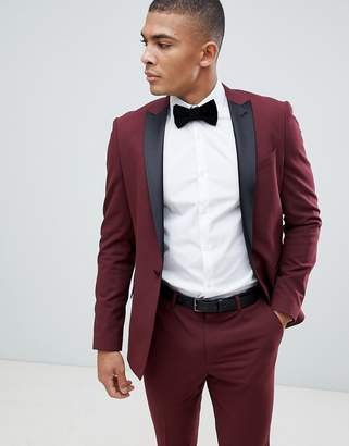 Asos Design DESIGN skinny tuxedo suit jacket in burgundy