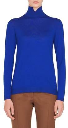 Akris Notch Mock Neck Cashmere & Silk Sweater