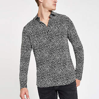 River Island Black leopard print long sleeve shirt