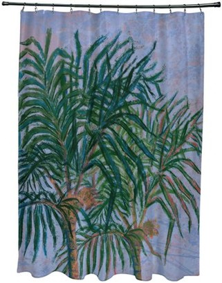 "E By Design Simply Daisy 71"" x 74"" Palms Floral Print Shower Curtain"