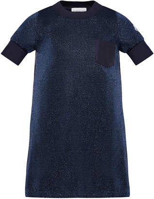 Moncler Short-Sleeve Metallic Knit Dress, Size 8-14