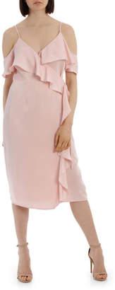Miss Shop Wrap Cold Shoulder Dress