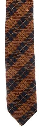 Dries Van Noten Plaid Print Silk Tie