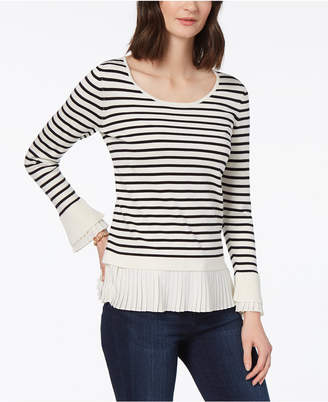 Charter Club Striped Layered-Hem Sweater, Created for Macy's