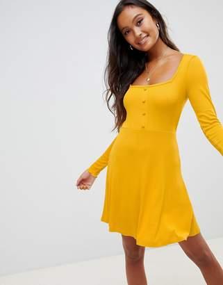 e24c647cbd Asos Design DESIGN mini skater dress in rib with button front