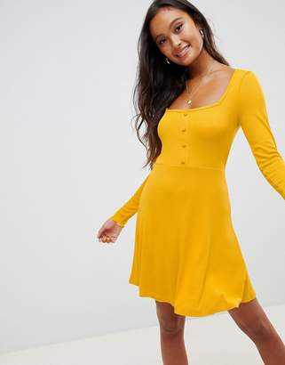 Asos Design DESIGN mini skater dress in rib with button front