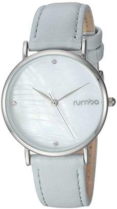 RumbaTime Women's 'Lafayette' Genuine Cool Blue/Silver Leather Casual Watch (Model: 27754)