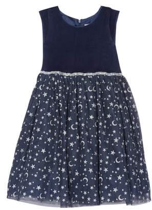 Dorissa Velour Stars Fit & Flare Dress