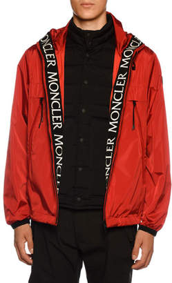 Moncler Men's Massereau Nylon Jacket w/ Logo Lining Trim