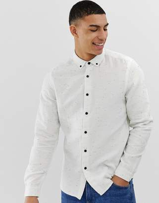 Asos Design DESIGN regular fit white nep shirt with button down collar
