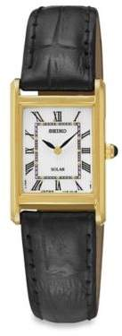 Seiko Ladies' Square Solar Watch in Goldtone Stainless Steel with Black Leather Wrist Strap $146.25 thestylecure.com