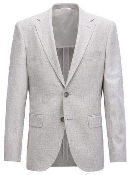 BOSS Hugo Regular-fit micro-patterned blazer elbow patches 38R Silver