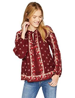 Lucky Brand Women's Floral Printed Peasant Top