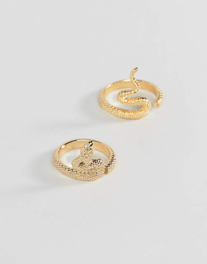 ASOS DESIGN pack of 2 rings in split snake design in gold