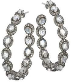 Nina Gilin Moonstone& Diamond Hoop Earrings