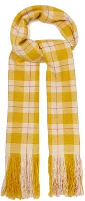 Isabel Marant Carlyna Checked Cashmere Scarf - Womens - Yellow
