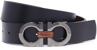 Salvatore Ferragamo Double Gancio Reversible Belt with Wood Detail