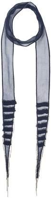 Chan Luu Viscose Chiffon Skinny Scarf with Layered Fringe Scarves