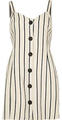 River Island Petite cream stripe tie back slip dress