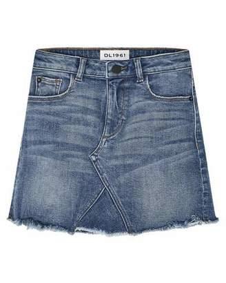 DL1961 Premium Denim Jenny Raw-Edge Denim Mini Skirt, Size 7-16