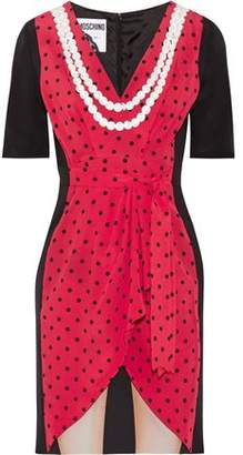 Moschino Lace-Trimmed Printed Silk Crepe De Chine Mini Dress