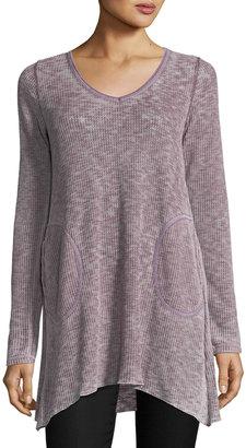 Allen Allen Long-Sleeve V--Neck Side-Pockets Tee $59 thestylecure.com