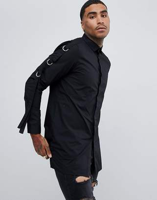 Asos DESIGN super longline shirt with strap detail in black