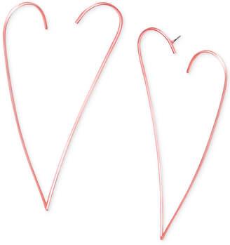 Steve Madden Rose Gold-Tone Open Heart Drop Earrings