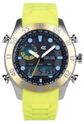 Croton Men's Ana- Digital Chronograph Yellow Silicone Strap