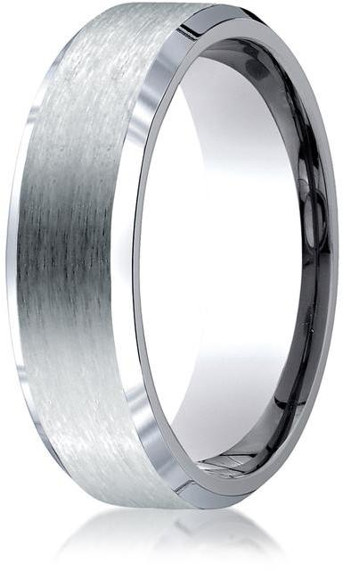 Benchmark Titanium 7mm Comfort-Fit Satin-Finished Beveled Edge Design Ring
