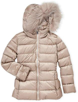 ADD Girls 7-16) Real Fur Trim Down Coat