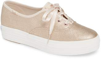 Keds R) Triple Decker Brushed Metallic Platform Sneaker