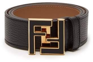 Fendi - Ff Logo Buckle Leather Belt - Mens - Black Gold
