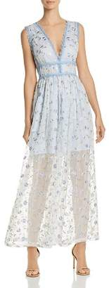 Aqua Lace-Trim Embroidered Maxi Dress - 100% Exclusive