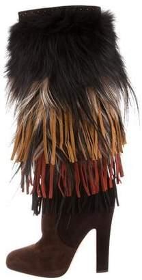 Jimmy Choo Dalia Fox Fur-Trimmed Boots