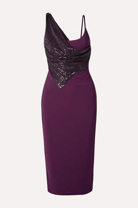 Cushnie Layered Embellished Stretch-jersey Dress - Grape