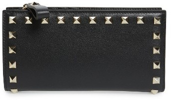 Valentino Women's Valentino Rockstud Continental Leather Wallet - Black