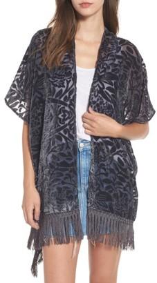 Women's Sun & Shadow Burnout Velvet Fringe Kimono $55 thestylecure.com