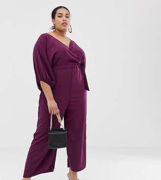 Asos DESIGN Curve kimono sleeve jumpsuit with wrap and culotte leg